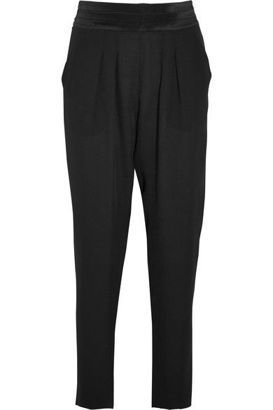 Eres - Lou Lou Satin-trimmed Silk-chiffon Pajama Pants - Black