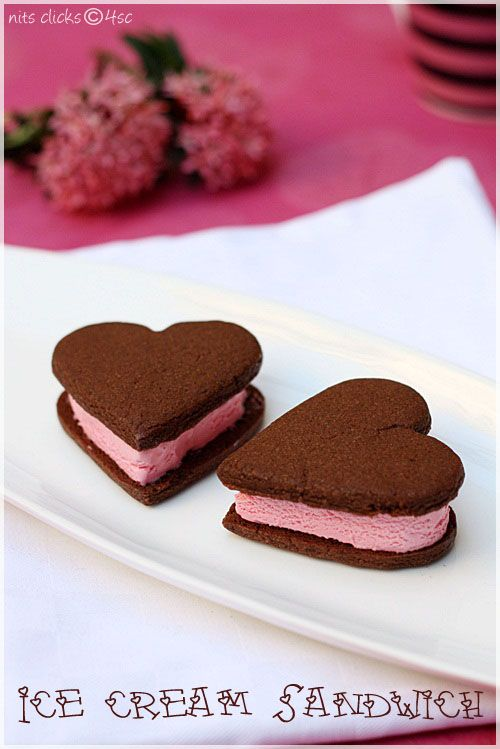 Heart shaped ice cream sandwiches. | Valentine's Day