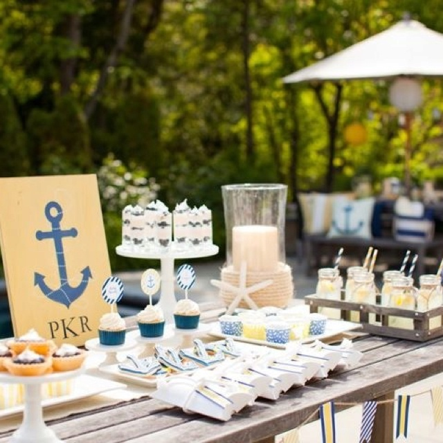 Decor Idea   Nautical Baby Shower Theme In Yellow And Navy Blue