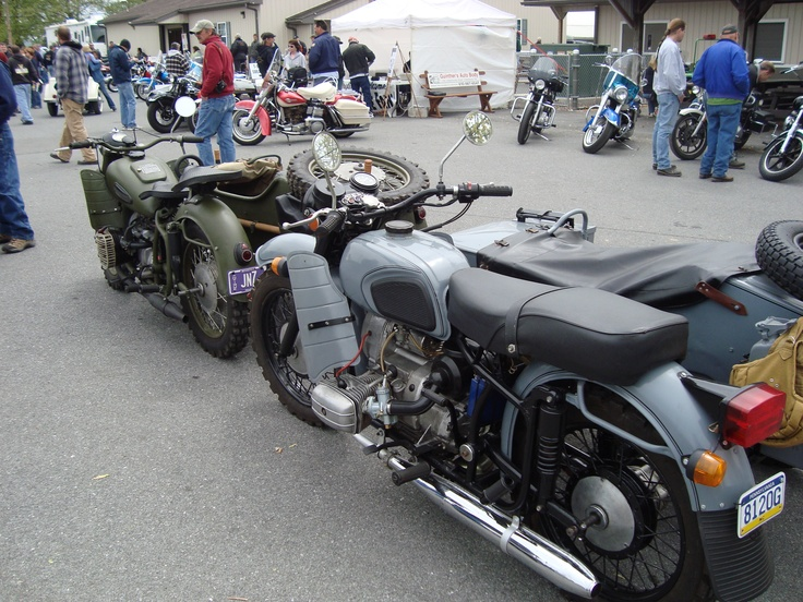 Two Russian bikes designed after the BMW. The front bike is a '65, the back one is newer.