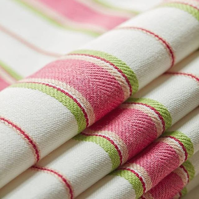 Getting up close and personal with a narrow stripe in a classic layout, Stongington Stripe in Pink is refined and simple. Be sure to view all color ways on thibautdesign.com #thibaut #stripes #plaids