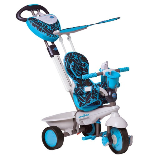 """http://idealbebe.ro/smart-trike-tricicleta-dream-in-blue-touch-steering-p-14576.html  - Manerul telescopic, reglabil si detasabil """"Touch Steering"""" reprezinta pentru parinti o solutie extrem de simpla din punct de vedere al controlului si al directiei tricicletei  - Gentuta ''Dream'' functionala, de calitate"""