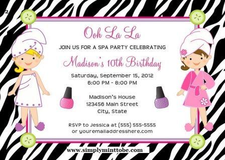 spa party invites
