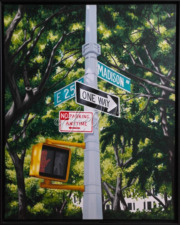 Madison Avenue at E 25th, NYC by Laura Kaardal, Acrylic on Canvas $875 framed www.laurakaardal.com #NYC #street #city #trees #oneway