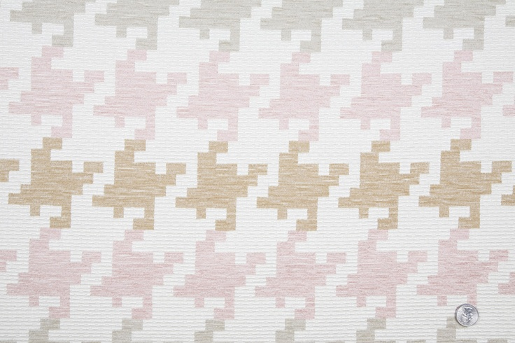 Mood Fabrics : New York Fashion Designer Discount Fabric | HC164 Off-White/Pink/Beige Houndstooth Woven