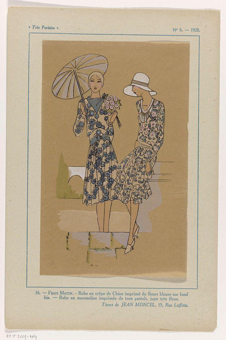 Anonymous | Très Parisien, 1928, No. 6 : 16.- FRAIS MATIN.- Robe en crêpe..., Anonymous, Jean Moncel, G-P. Joumard, 1928 | Jurk van 'crêpe de Chine' bedrukt met bloemmotief in blauw. Jurk van bedrukte mousseline in pasteltinten. Stoffen van Jean Moncel. Accessoires: parasol, hoed met brede rand, geknoopte halsdoek, pumps. Prent uit het modetijdschrift Très Parisien (1920-1936).