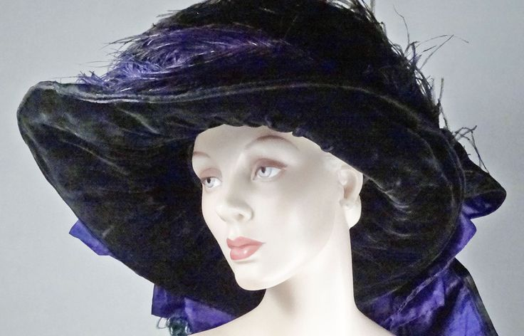 Black satin moire brocade Gainsborough hat with velvet underarm, purple silk trim and ostrich feathers ca 1910