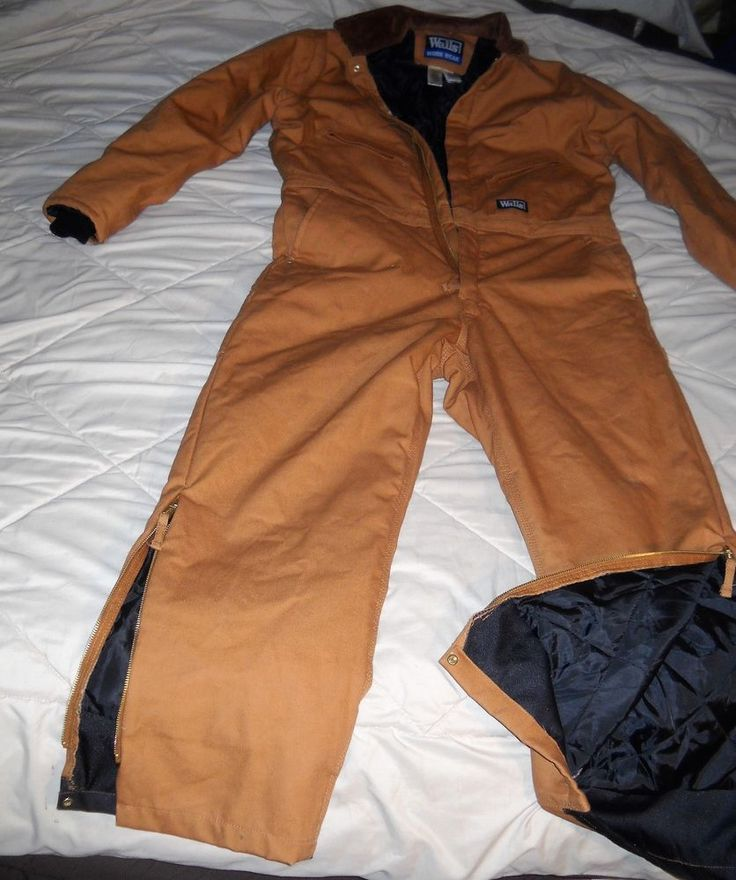 WALLS WORKWEAR QUILT LINED INSULATED duck canvas work COVERALLS Large 42-44 #WALLS