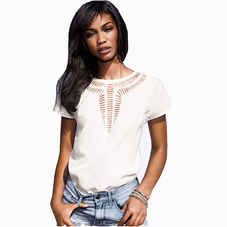 2015 New Casual Top Chiffon Dress Tees Blouse fashion Hot sales women shirt hollow laser engraving summer clothes#6686