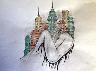 "Saatchi Art Artist Leyla Özlüoğlu; Painting, ""rising"" #art #SaatchiArt #drawing #painting #watercolor #ink #saatchiartilove #artoftheday"