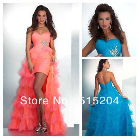 Fancy Neon Pink Turquoise High Low Style Strapless Sweetheart Organza Long Layered Front Short Long Back Prom Dress 2013