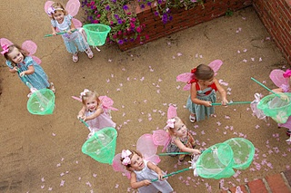 Fairy Princess Party-Butterfly catching game! - make paper butterflies and sprinkle from the deck for the girls to catch below.