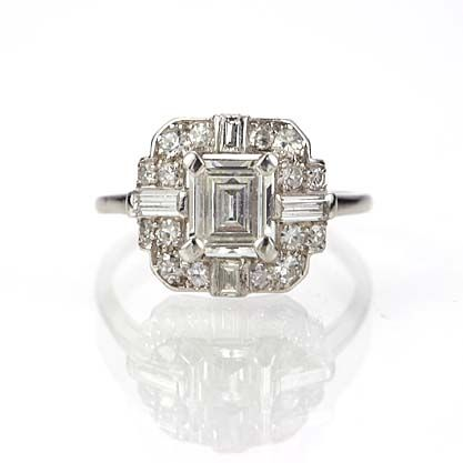 New York, NY Jewelry, engagement rings - Leigh Jay Nacht - Art Deco Engagement Ring - VR565-05