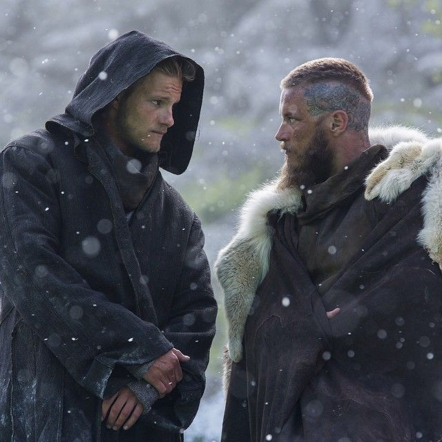 """Bjorn and Ragnar are patiently waiting for winter's end. Double tap if you can't wait for this year's raids! #Vikings"""