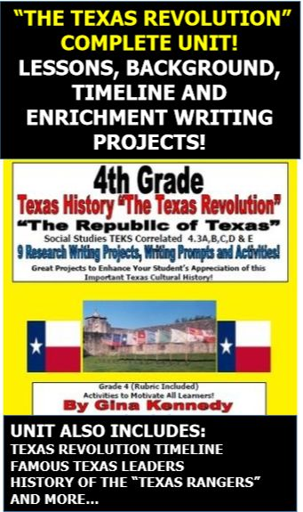 TEXAS REVOLUTION, TEXAS RANGERS, AND TEXAS LEADERS COMPLETE UNIT! TIMELINE, LESSON, BIOGRAPHIES, VOCABULARY, AND DIFFERENTIATED RESEARCH AND WRITING PROJECTS!  This unit of Texas history correlates to the 4th Grade Social Studies TEKS.  I have provided a background of the Texas Revolution and the forming of The Republic of Texas,important dates, key leaders, Texas Rangers and more. I have also included fun creative writing enrichment projects.