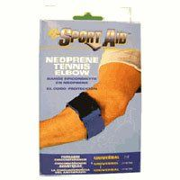 Sportaid, Tennis Elbow Brace, Neoprene Support, Blue, Universal - 1 ea by Sportaid Elbow Brace. $5.70. INDICATIONS: Sportaid, Elbow Brace, Neoprene Support, Blue, Univ Tennis Elbow 2 wide plush neoprene strap. Loop-lock closure for easy application. Fits 7-15 forearm.