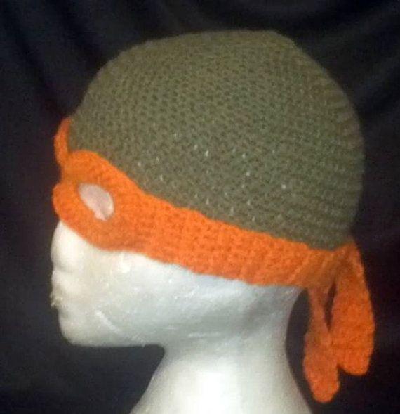 Crochet Pattern Tmnt Hat : Ninja Turtle Mask & Hat PATTERN, Crochet TMNT Inspired ...