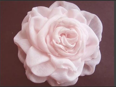 Цветы из ткани. Роза из шифона. Мастер-класс.