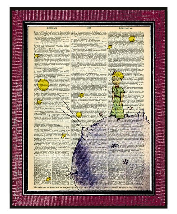 THE LITTLE PRINCE Book Art Wall Hangings by DogEarPrints on Etsy, $12.00