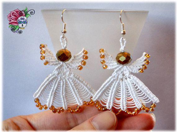 Anges Boucles d'oreille Macramé perles  par ValniDesignsJewelry