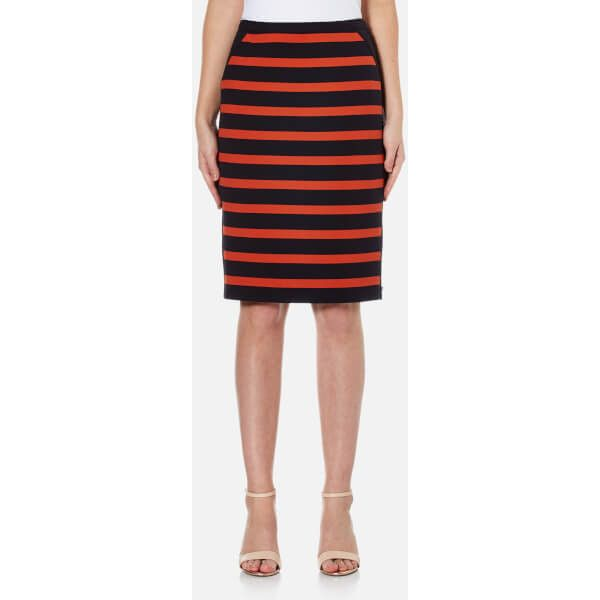 Women's 'Balanja' slim fit pencil skirt from BOSS Orange.  Crafted from a soft fabric blend, the knee-length skirt features a bold black and orange striped pat…