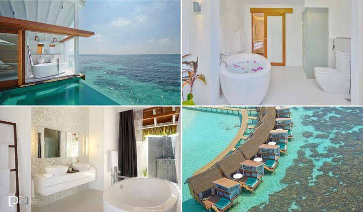 Kandolhu Island Resort.  La belleza natural de las Islas Maldivas se combinan a la perfección con la moderna arquitectura de este resort, el resultado es una experiencia inigualable. La colección ILBAGNOALESSI One y Palomba de Laufen hacen parte de este paradisíaco hotel.  Laufen exclusivo en Productos Arquitectónicos