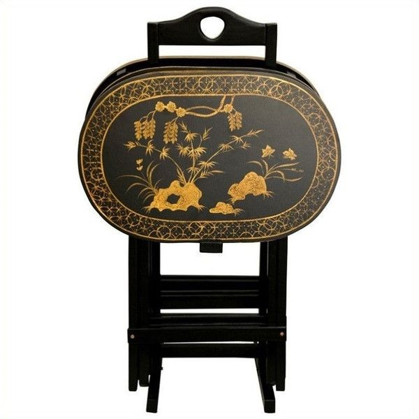 Oriental Furniture TV Tray Set (1.675 RON) ❤ liked on Polyvore featuring home, furniture, asian furniture, asian lacquer furniture, painted furniture, lacquer furniture and butterfly furniture