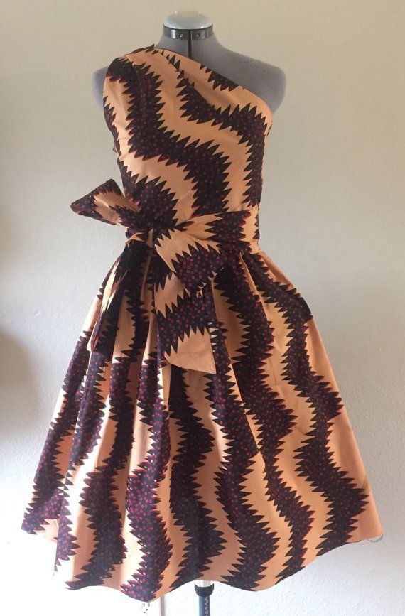 Make a Statement African Wax Print One Shoulder Dress 100% Cotton With Side…