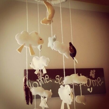 Diy sheep baby mobile toy