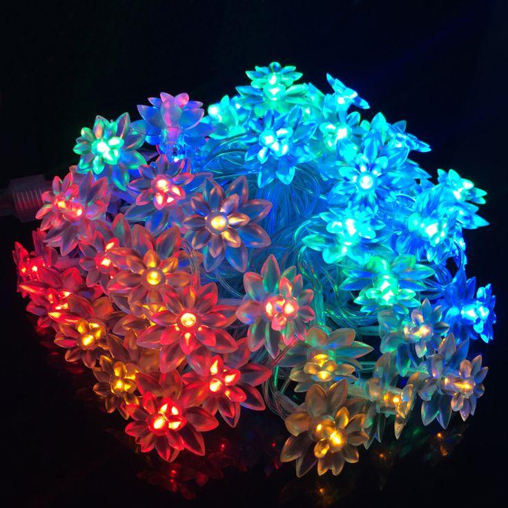 string information about ac220v lotus flower fairy holiday lighting string 5m 50leds flashing party home garland christmas decoration led lights eu plug - Christmas Light Flasher Plug