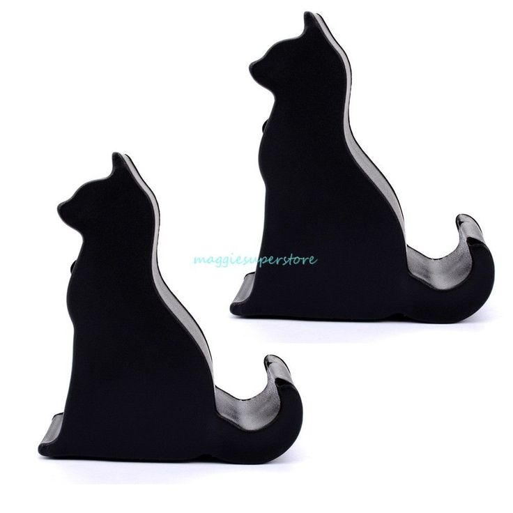 2PCS Universal Black Cat Phone Holder Desk Stand For iPhone Samsung Smartphone #Unbranded