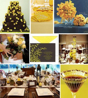 We should have a chocolate cake with yellow on it. This chocolate is really dark, but I think it would look nice :)