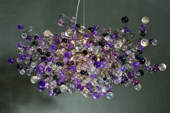 Hanging chandeliers. midnight color bubbles by yehudalight $1070.00