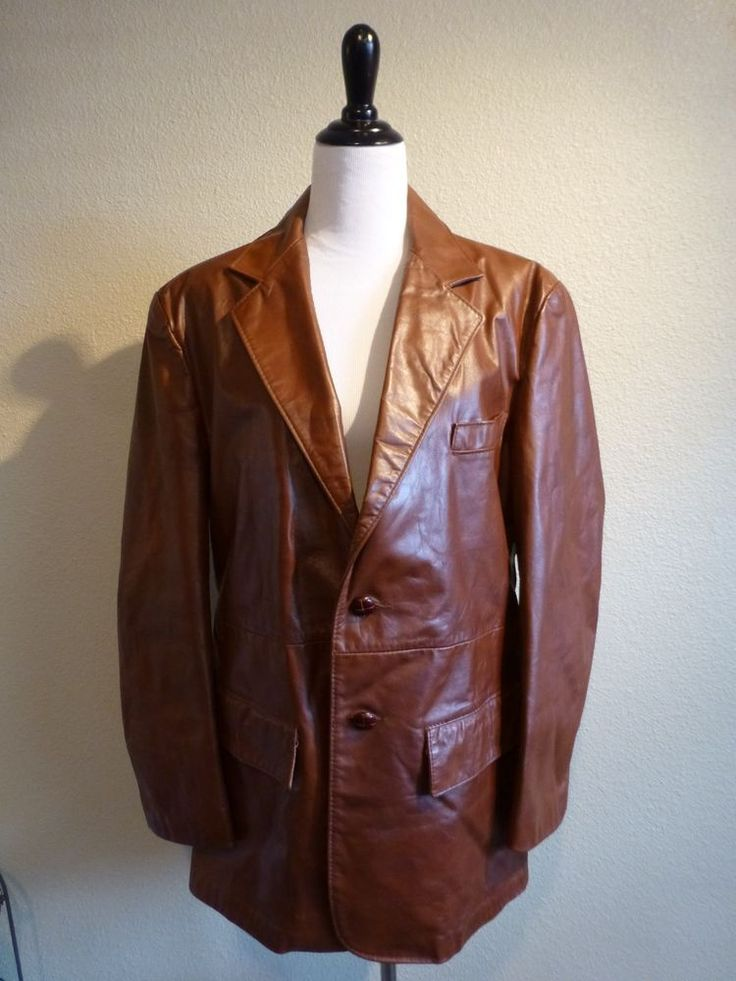 Vintage Genuine Leather Blazer Sport Coat Jacket Mens 44R Brown ...
