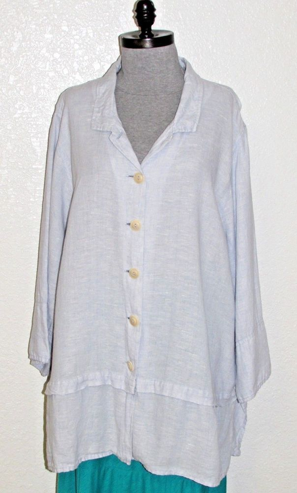 b16235c6e42 FLAX Engelhart womens Top 2G (2X 3X) Linen Tunic Shirt Jacket Lagenlook Blue