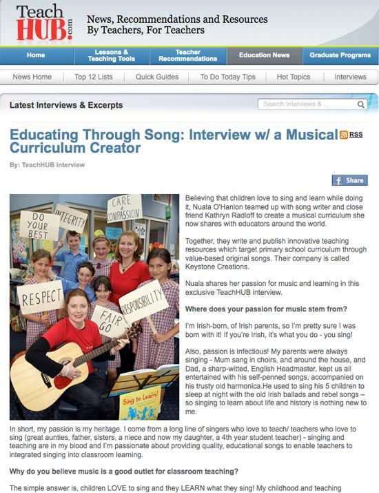 EDUCATING THROUGH SONG: An interview with TeachHub - News, Recommendations and Resources~By Teachers, For Teachers: http://www.teachhub.com/educating-through-song-interview-musical-curriculum-creator?interviews=1  (To read article, click on image, and scroll down...)