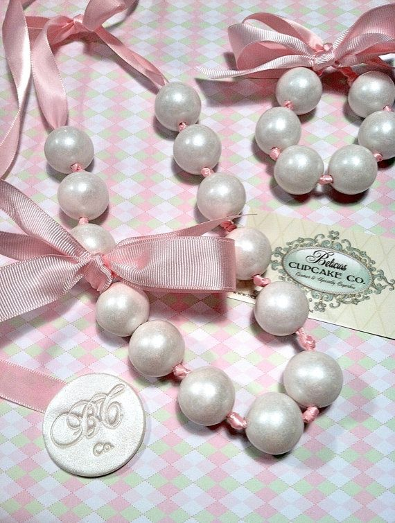Edible Gumball Necklace Couture Pearls , These Shabby Chic's are Great for Party Favors for Birthdays, Baby Showers, Bachelorette Parties by Belicia's Cupcake Co.