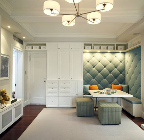 I love this Tufted banquette  Storage  Nook