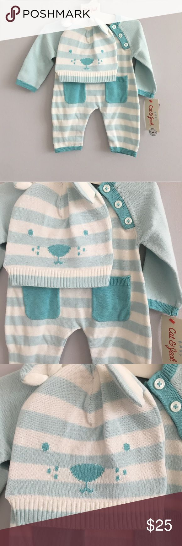 Cat & Jack blue and cream bear onesie and hat set Cream and blue striped pants and long sleeve striped onesie. Has cute pockets on the front. Comes with a matching bear hat.  🍂🍁🍂🍁🍂🍁🍂🍁🍂🍁🍂🍁🍂🍁🍂 Size: fits true to size  Feel free to ask questions! All offers will be considered! I ship within 3 days max! Bundle discount of 15%! Free coupon code for next purchase with each purchase from my closet! Free shipping on bundles over $69 after the bundle discount. Simply offer $7 less on…