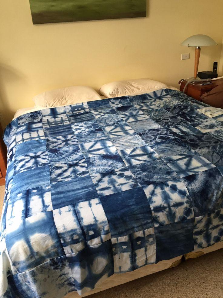 Quilt created from Shibori Indigo fabrics created by Lisa Walton