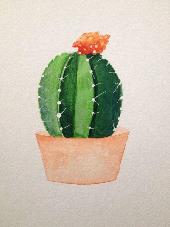 Cactus suculentas acuarela por bohime en Etsy