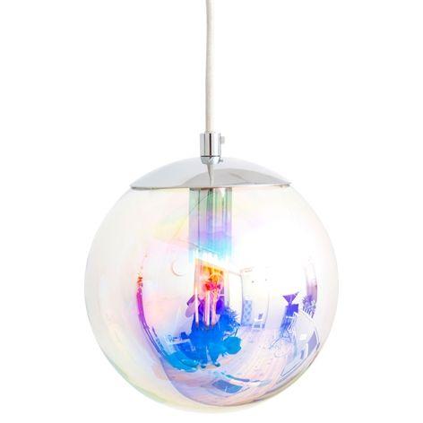 Lampa MERCURY. Ø20cm. Taklampa med iridecent färgat glas. 150cm lång textilssladd, takkontakt. E14 max watt 25W