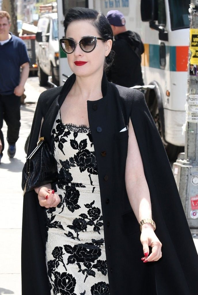 Burlesque model Dita Von Teese takes a walk through the East Village on a sunny day in New York City, New York on May 7, 2014.