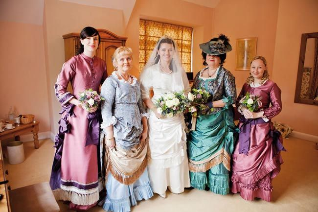 Almost exactly what i want for the girls. Victorian wedding theme inspiration with period dresses and details