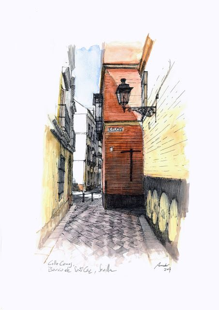 Calle Cruces, barrio de Santa Cruz, Sevilla. Acuarela y Tinta. 407x297mm. Papel canson 300gr