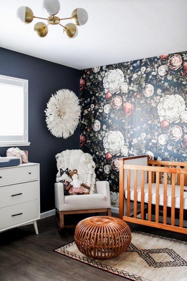 Nursery With Dark Blue Walls And Floral Print Accent Wall Floral Wallpaper Nursery Nursery Accent Wall Bohemian Nursery Decor
