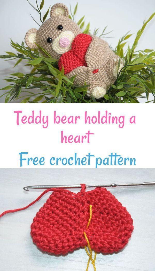 Crochet teddy bear holding a heart   Free amigurumi patterns
