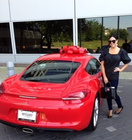 This is Janessa Kaiser with her brand new 2014 Porsche Cayman. This was a special order vehicle and she is the proud owner of one of the first new body styles to hit ground in Houston. Congratulations, Janessa! #porsche #2014 #newcars #porschecayman #leasing