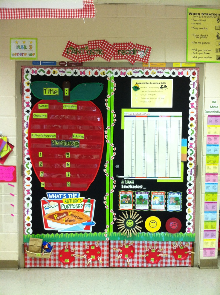 """f""""ANT""""astic Reading! This is my reading wall.  I covered the closet doors with fabric to use that space. The apple pocket chart will have info on our story.  The big chart is something that goes with our schools reading program... A point system to reward good teamwork."""