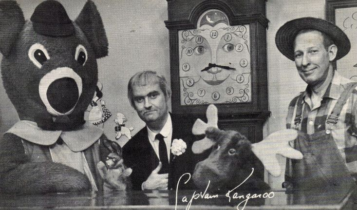 Captain Kangaroo with Dancing Bear, Mr. Bunny Rabbit, Grandfather Clock, Mr, Moose and Mr. Greenjeans